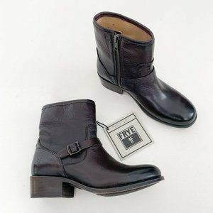 NWOB Lynn Short Strap Leather Moto Boots Brown